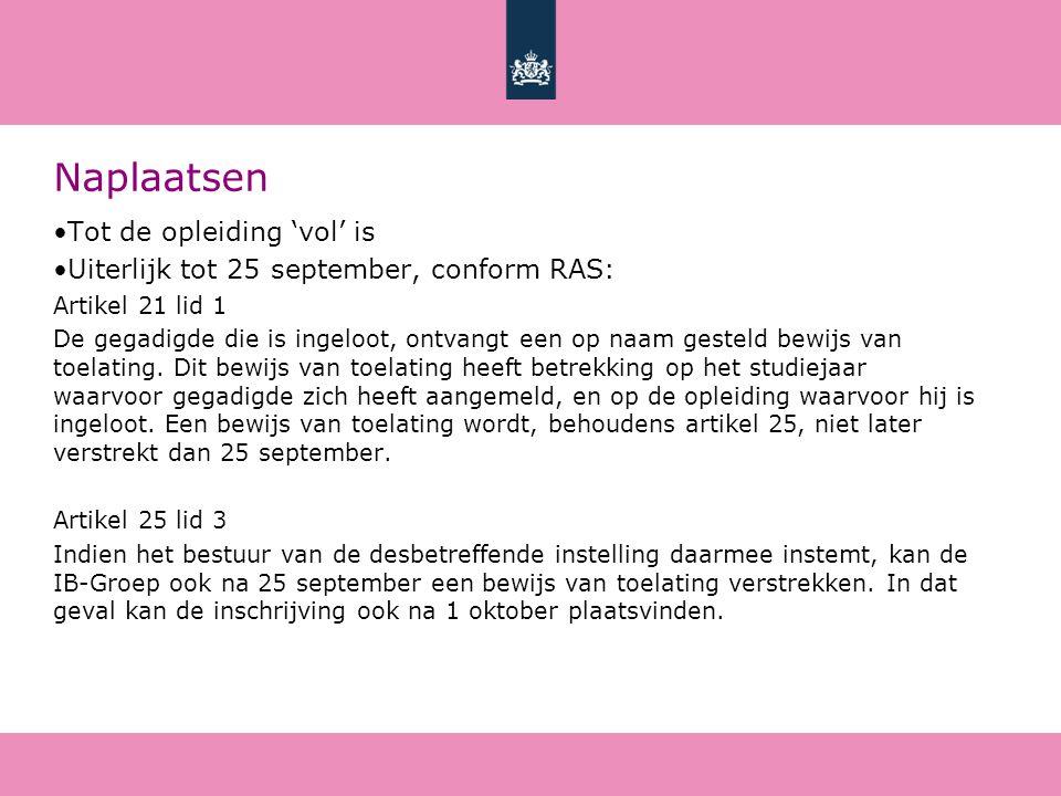 Naplaatsen Tot de opleiding 'vol' is Uiterlijk tot 25 september, conform RAS: Artikel 21 lid 1 De gegadigde die is ingeloot, ontvangt een op naam gesteld bewijs van toelating.