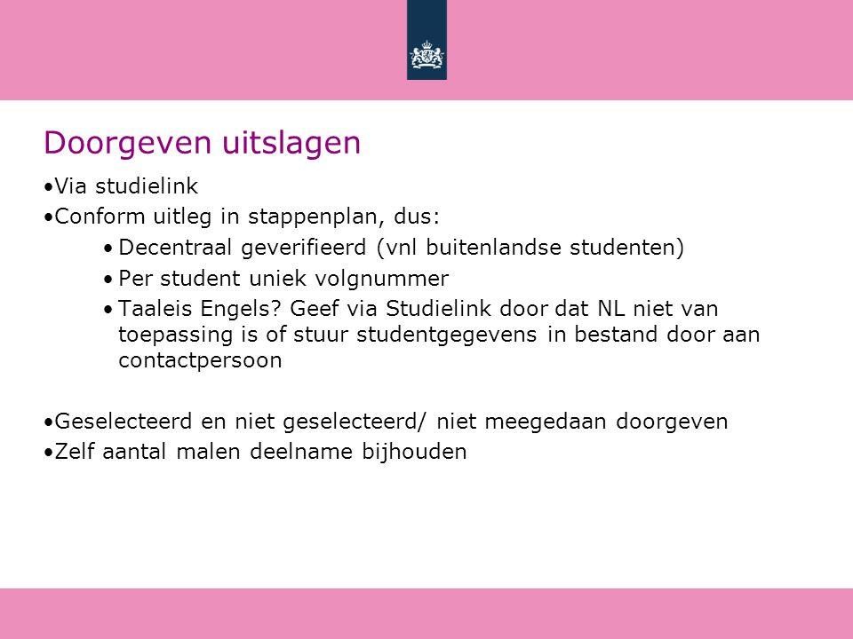 Doorgeven uitslagen Via studielink Conform uitleg in stappenplan, dus: Decentraal geverifieerd (vnl buitenlandse studenten) Per student uniek volgnummer Taaleis Engels.