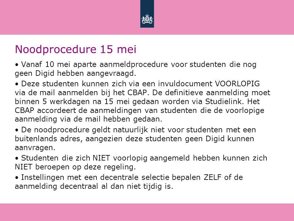 Noodprocedure 15 mei Vanaf 10 mei aparte aanmeldprocedure voor studenten die nog geen Digid hebben aangevraagd.