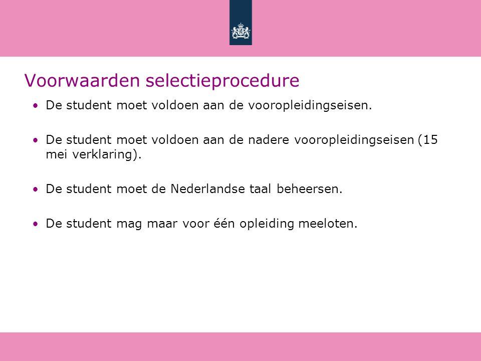 Voorwaarden selectieprocedure De student moet voldoen aan de vooropleidingseisen.