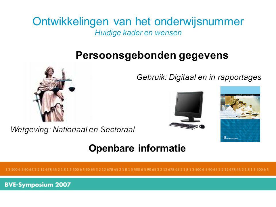 Ontwikkelingen van het onderwijsnummer Huidige kader en wensen Persoonsgebonden gegevens Openbare informatie Wetgeving: Nationaal en Sectoraal Gebruik