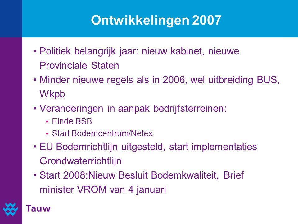 Ontwikkelingen 2007 Politiek belangrijk jaar: nieuw kabinet, nieuwe Provinciale Staten Minder nieuwe regels als in 2006, wel uitbreiding BUS, Wkpb Ver