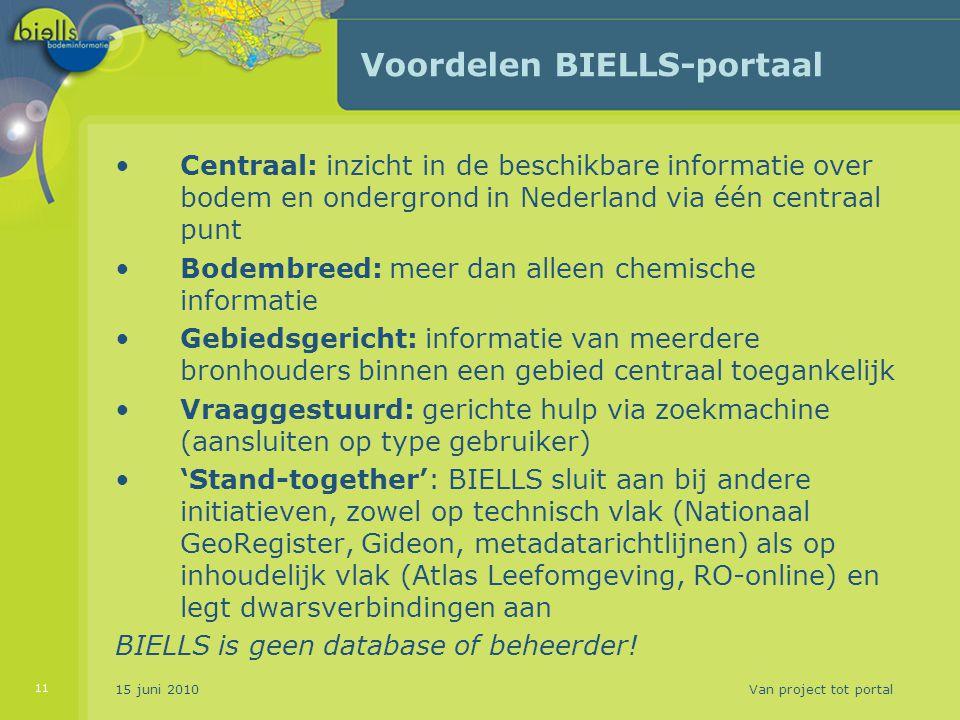 Voordelen BIELLS-portaal Centraal: inzicht in de beschikbare informatie over bodem en ondergrond in Nederland via één centraal punt Bodembreed: meer d