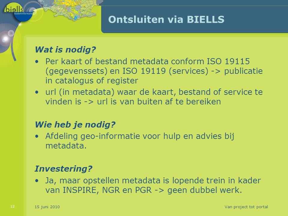 Ontsluiten via BIELLS Wat is nodig? Per kaart of bestand metadata conform ISO 19115 (gegevenssets) en ISO 19119 (services) -> publicatie in catalogus