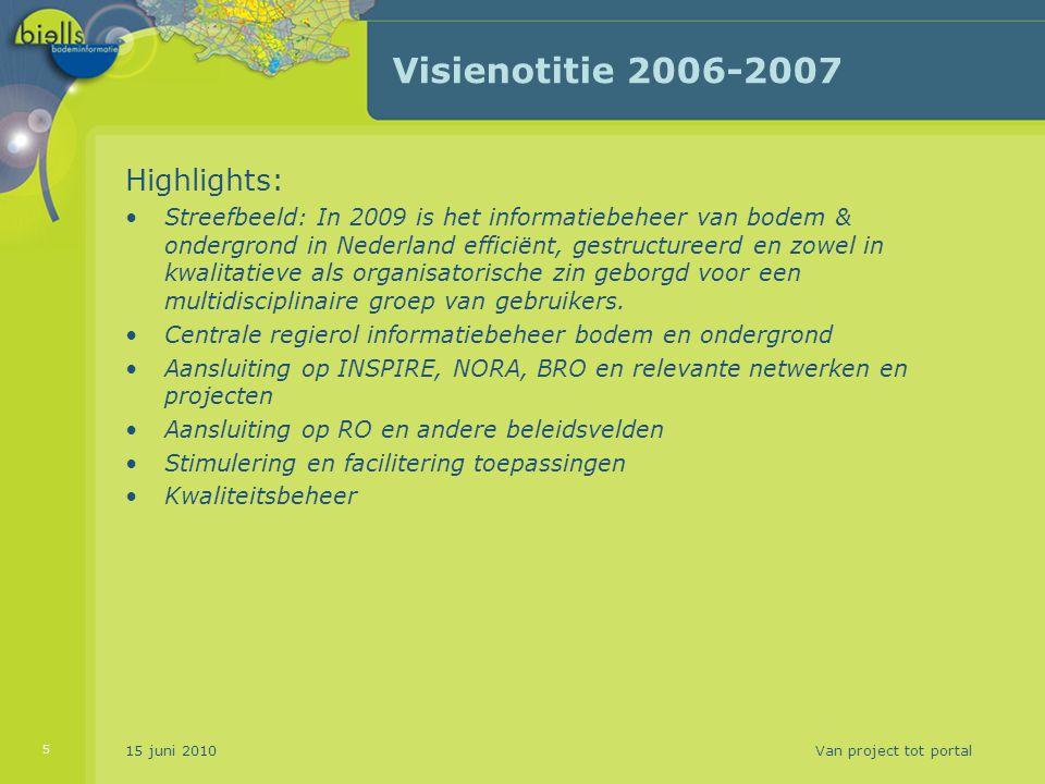 Visienotitie 2006-2007 Highlights: Streefbeeld: In 2009 is het informatiebeheer van bodem & ondergrond in Nederland efficiënt, gestructureerd en zowel in kwalitatieve als organisatorische zin geborgd voor een multidisciplinaire groep van gebruikers.