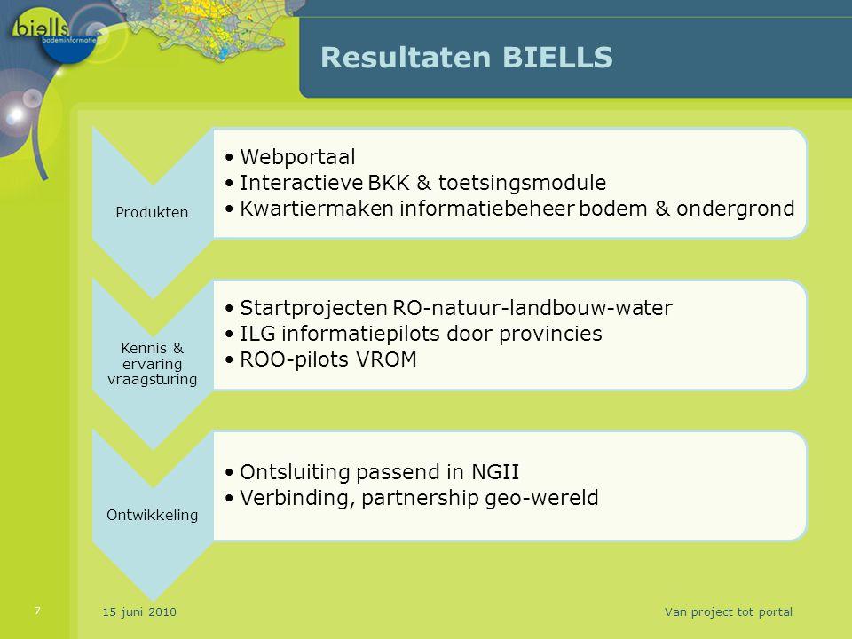 15 juni 2010Van project tot portal 7 Resultaten BIELLS Produkten Webportaal Interactieve BKK & toetsingsmodule Kwartiermaken informatiebeheer bodem &