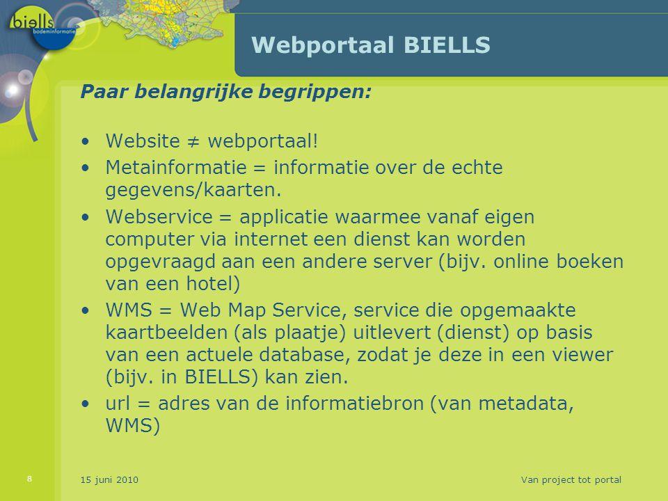 15 juni 2010Van project tot portal 8 Webportaal BIELLS Paar belangrijke begrippen: Website ≠ webportaal! Metainformatie = informatie over de echte geg