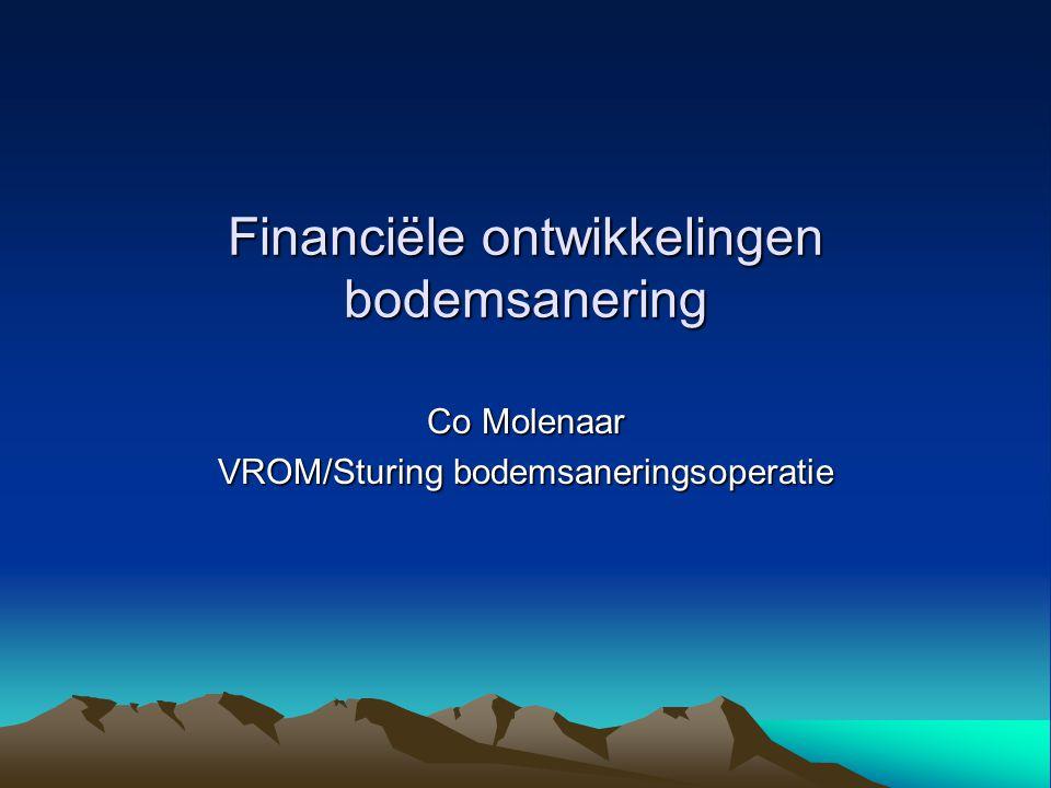 Financiële ontwikkelingen bodemsanering Co Molenaar VROM/Sturing bodemsaneringsoperatie
