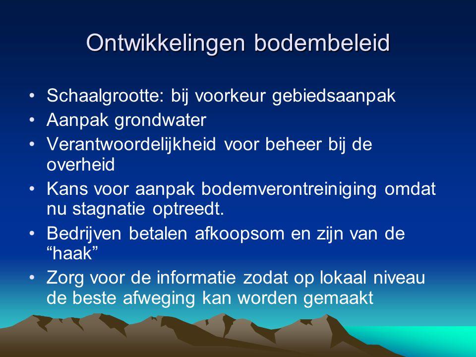 Ontwikkelingen bodembeleid Schaalgrootte: bij voorkeur gebiedsaanpak Aanpak grondwater Verantwoordelijkheid voor beheer bij de overheid Kans voor aanpak bodemverontreiniging omdat nu stagnatie optreedt.