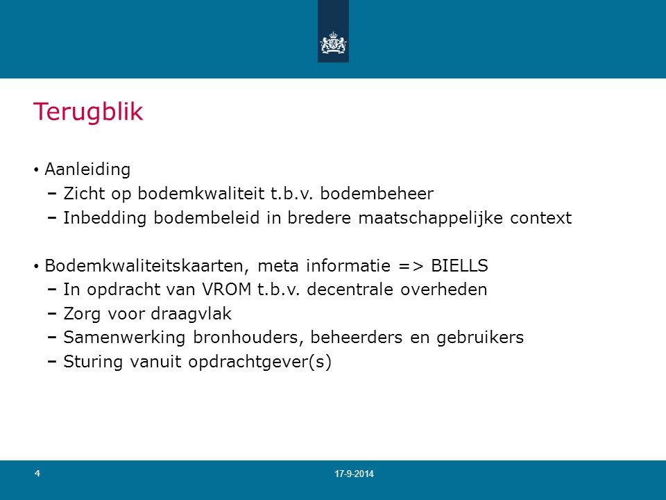 4 17-9-2014 Terugblik Aanleiding Zicht op bodemkwaliteit t.b.v.