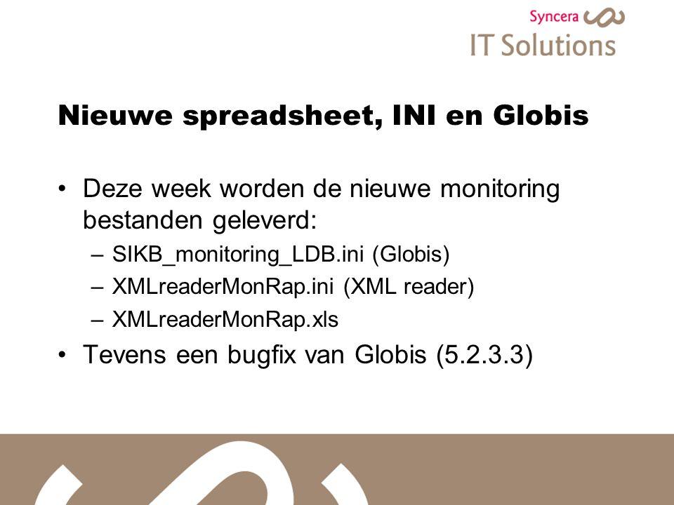 Nieuwe spreadsheet, INI en Globis Deze week worden de nieuwe monitoring bestanden geleverd: –SIKB_monitoring_LDB.ini (Globis) –XMLreaderMonRap.ini (XML reader) –XMLreaderMonRap.xls Tevens een bugfix van Globis (5.2.3.3)