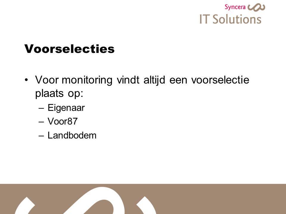 Voorselecties Voor monitoring vindt altijd een voorselectie plaats op: –Eigenaar –Voor87 –Landbodem