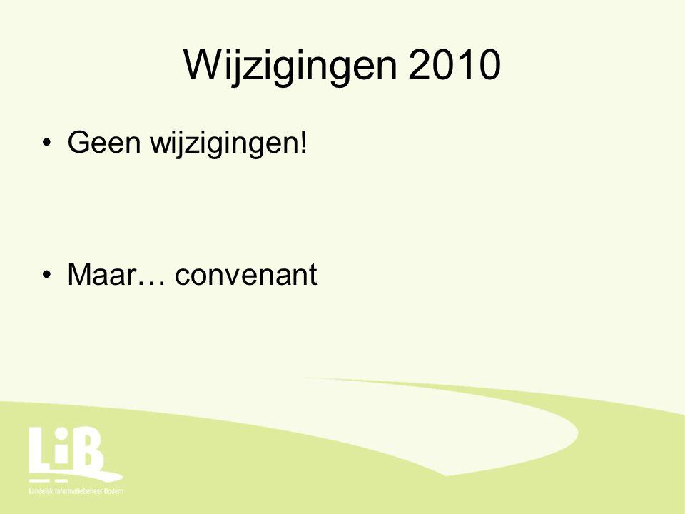 Wijzigingen 2010 Geen wijzigingen! Maar… convenant
