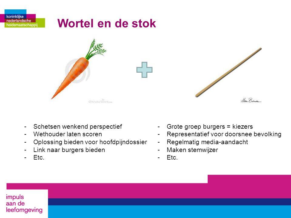 Wortel en de stok -Schetsen wenkend perspectief -Wethouder laten scoren -Oplossing bieden voor hoofdpijndossier -Link naar burgers bieden -Etc.