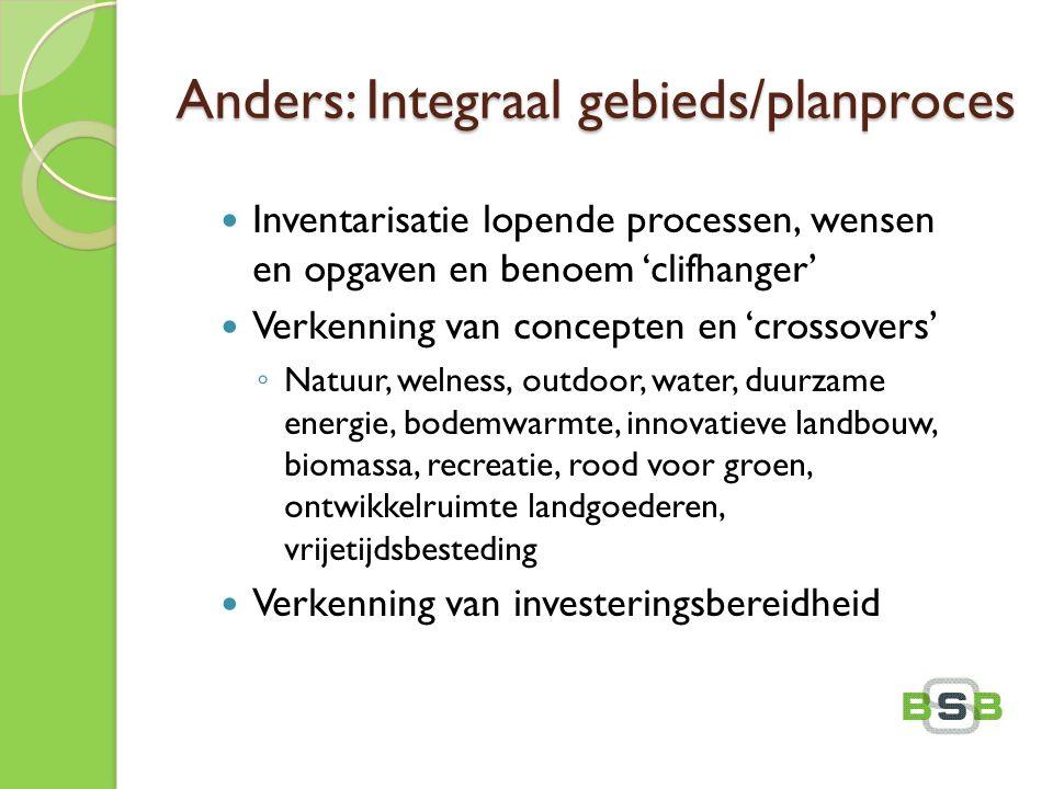 Anders: Integraal gebieds/planproces Inventarisatie lopende processen, wensen en opgaven en benoem 'clifhanger' Verkenning van concepten en 'crossover