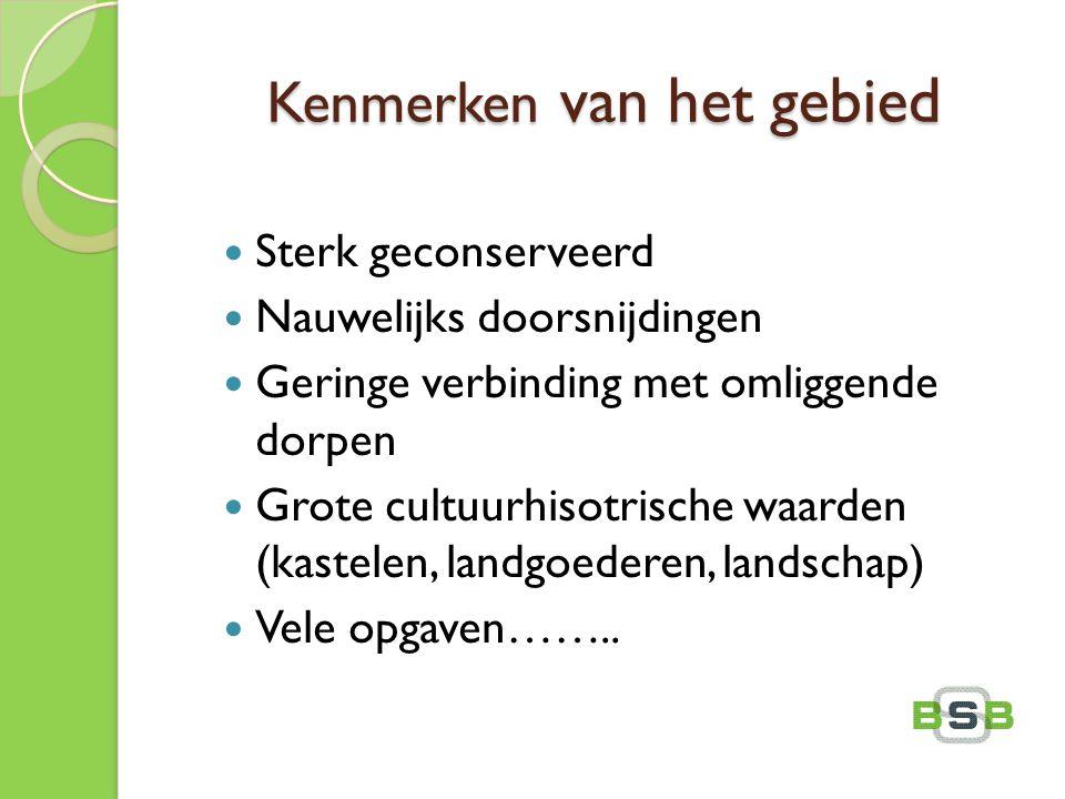Kenmerken van het gebied Sterk geconserveerd Nauwelijks doorsnijdingen Geringe verbinding met omliggende dorpen Grote cultuurhisotrische waarden (kast