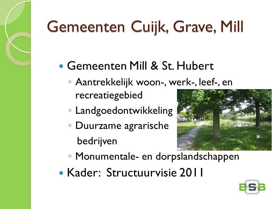 Gemeenten Cuijk, Grave, Mill Gemeenten Mill & St. Hubert ◦ Aantrekkelijk woon-, werk-, leef-, en recreatiegebied ◦ Landgoedontwikkeling ◦ Duurzame agr