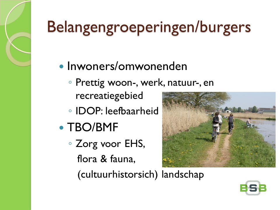 Belangengroeperingen/burgers Inwoners/omwonenden ◦ Prettig woon-, werk, natuur-, en recreatiegebied ◦ IDOP: leefbaarheid TBO/BMF ◦ Zorg voor EHS, flor