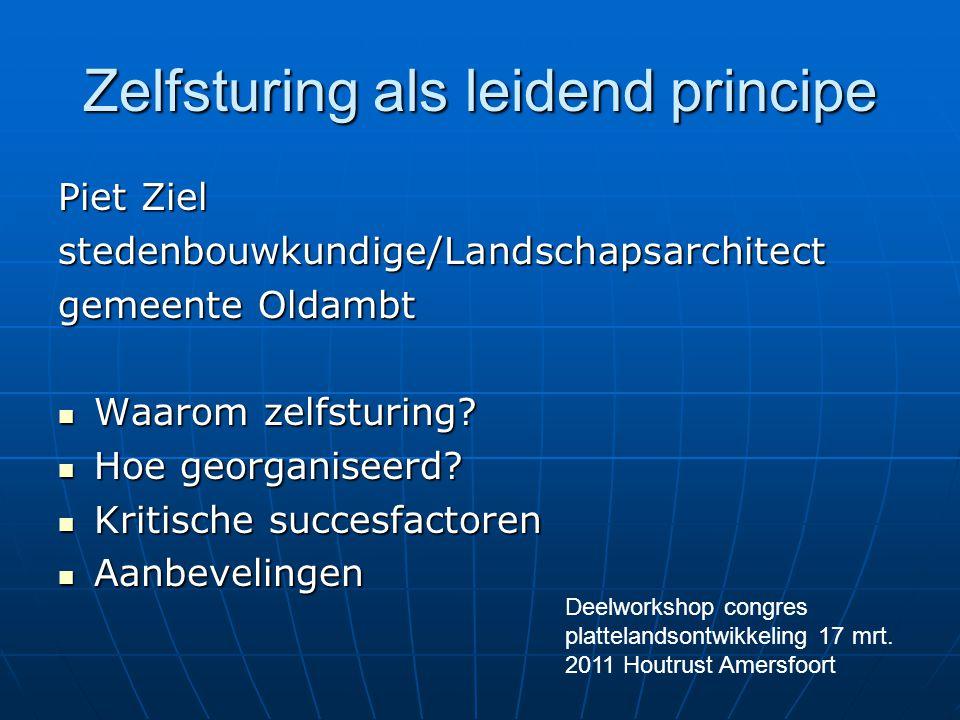 Zelfsturing als leidend principe Piet Ziel stedenbouwkundige/Landschapsarchitect gemeente Oldambt Waarom zelfsturing? Waarom zelfsturing? Hoe georgani