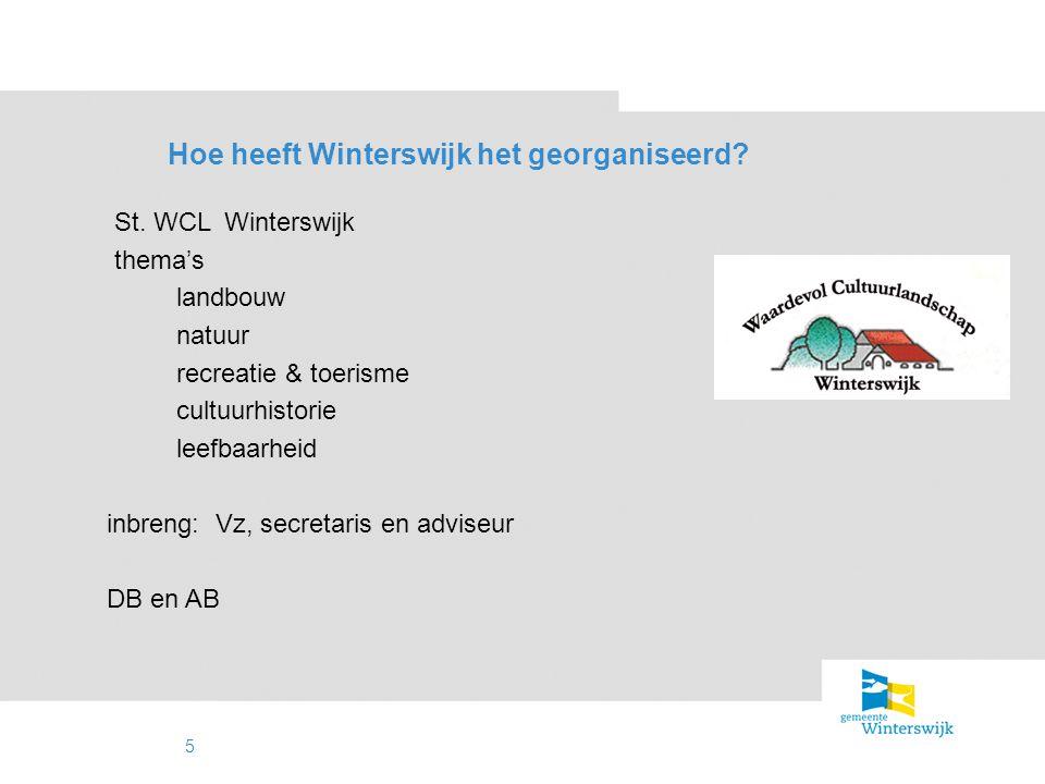 6 Wat doet de St. WCL? advies (on)gevraagd uitvoeren projecten cofinanciering lobby / excursies