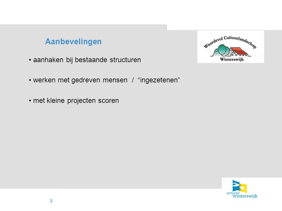 """9 Aanbevelingen aanhaken bij bestaande structuren werken met gedreven mensen / """"ingezetenen"""" met kleine projecten scoren"""