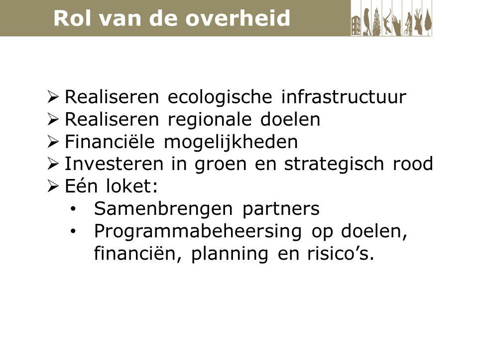  Realiseren ecologische infrastructuur  Realiseren regionale doelen  Financiële mogelijkheden  Investeren in groen en strategisch rood  Eén loket: Samenbrengen partners Programmabeheersing op doelen, financiën, planning en risico's.