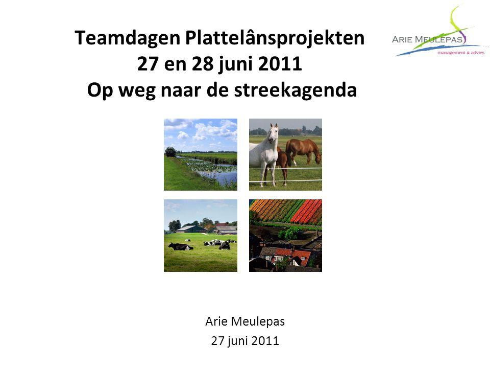 Teamdagen Plattelânsprojekten 27 en 28 juni 2011 Op weg naar de streekagenda Arie Meulepas 27 juni 2011