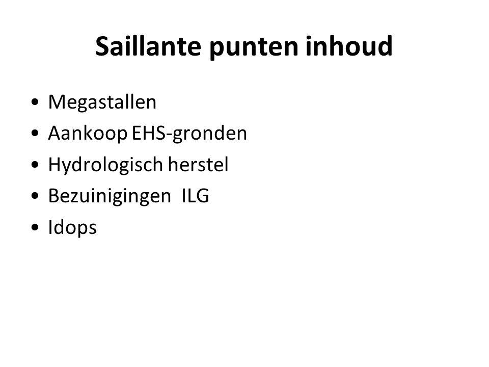 Saillante punten inhoud Megastallen Aankoop EHS-gronden Hydrologisch herstel Bezuinigingen ILG Idops