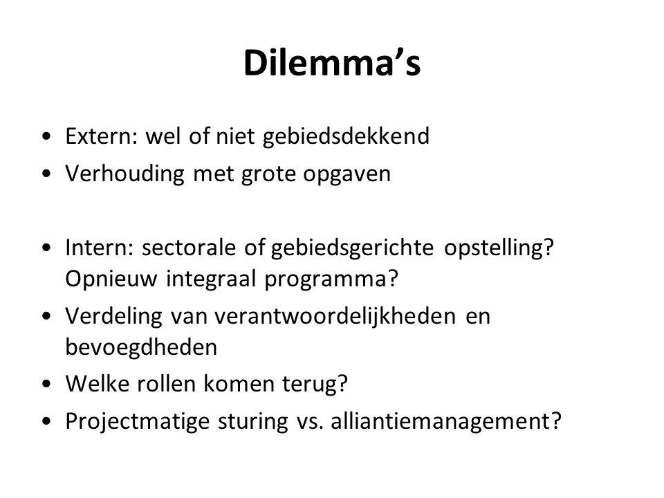Dilemma's Extern: wel of niet gebiedsdekkend Verhouding met grote opgaven Intern: sectorale of gebiedsgerichte opstelling? Opnieuw integraal programma