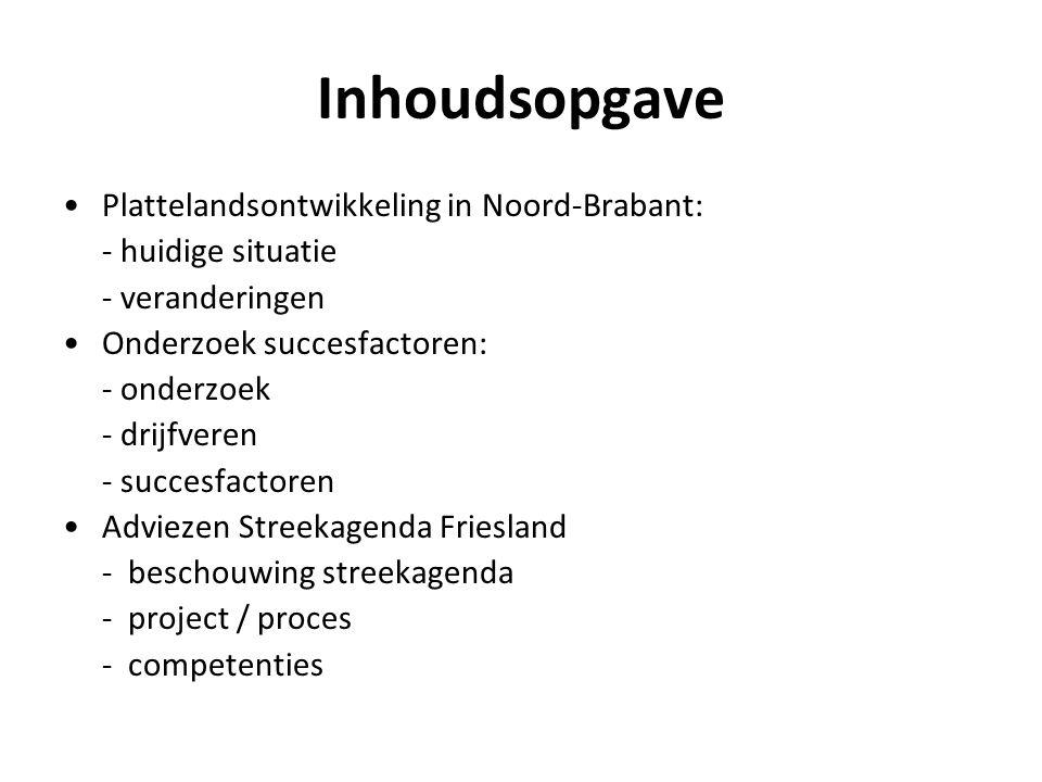 Inhoudsopgave Plattelandsontwikkeling in Noord-Brabant: - huidige situatie - veranderingen Onderzoek succesfactoren: - onderzoek - drijfveren - succes
