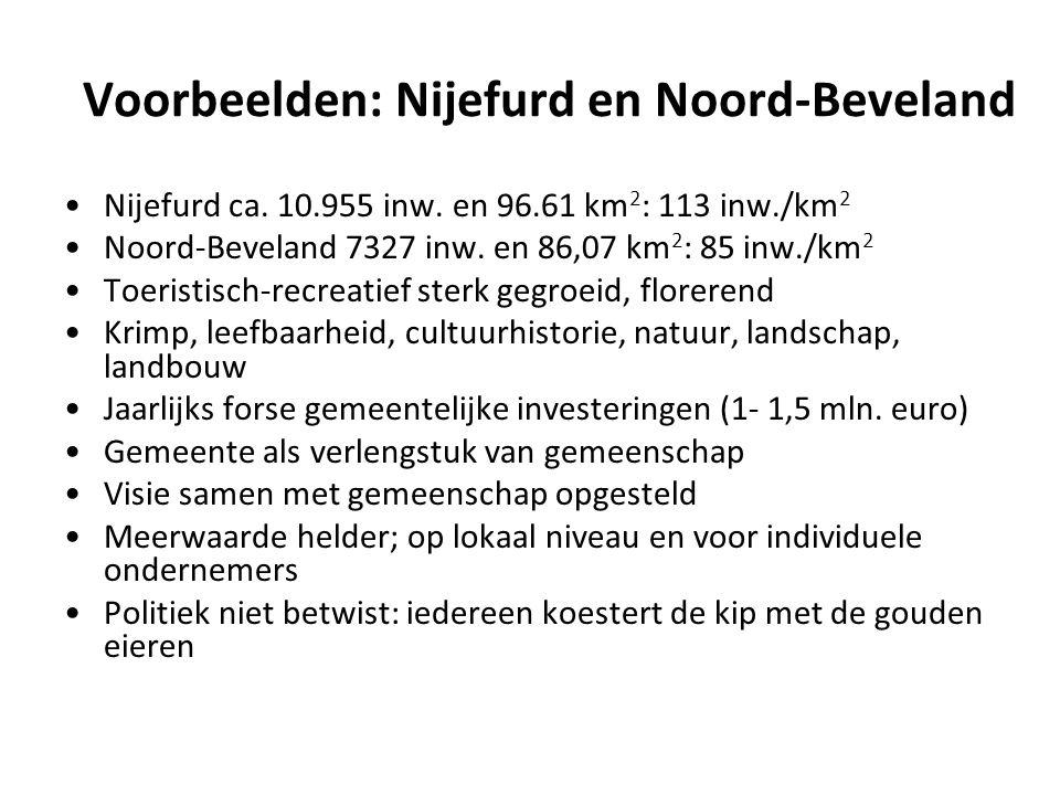 Voorbeelden: Nijefurd en Noord-Beveland Nijefurd ca. 10.955 inw. en 96.61 km 2 : 113 inw./km 2 Noord-Beveland 7327 inw. en 86,07 km 2 : 85 inw./km 2 T