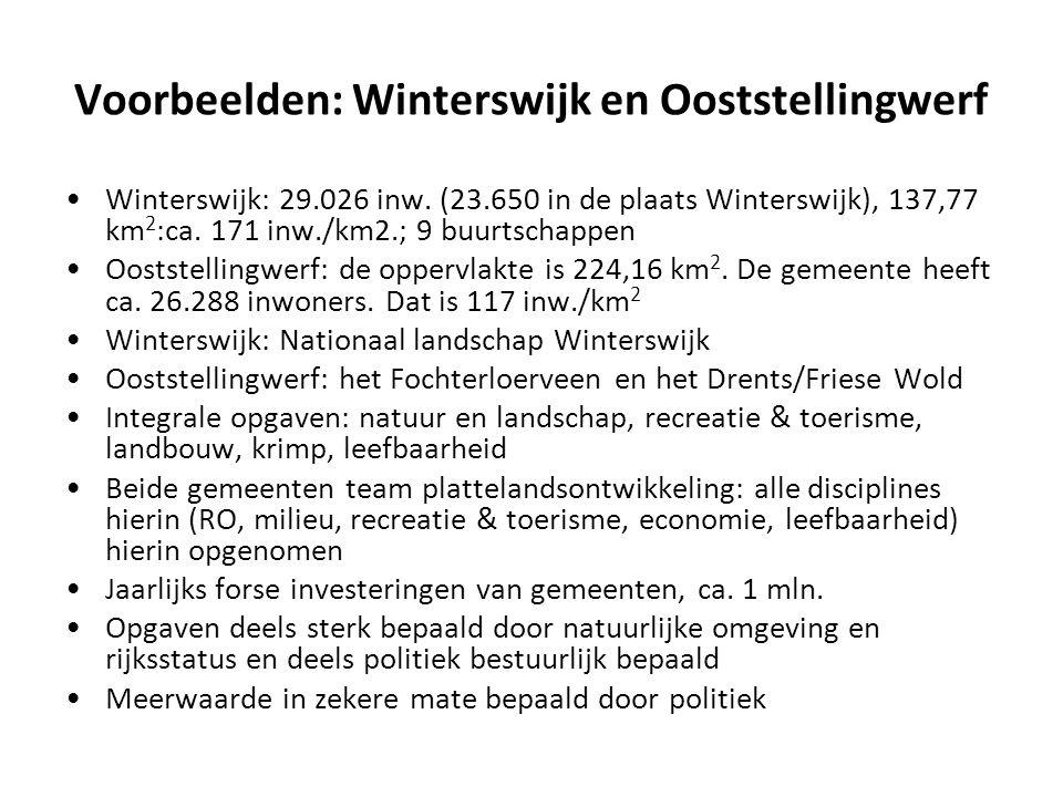 Voorbeelden: Winterswijk en Ooststellingwerf Winterswijk: 29.026 inw. (23.650 in de plaats Winterswijk), 137,77 km 2 :ca. 171 inw./km2.; 9 buurtschapp