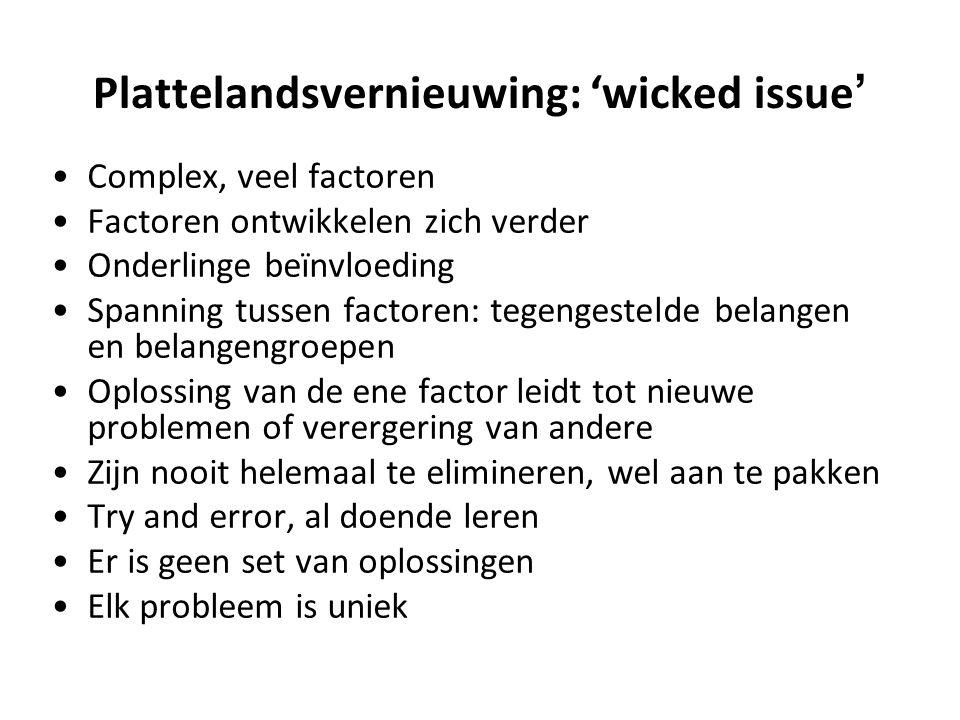 Plattelandsvernieuwing: 'wicked issue ' Complex, veel factoren Factoren ontwikkelen zich verder Onderlinge beïnvloeding Spanning tussen factoren: tege