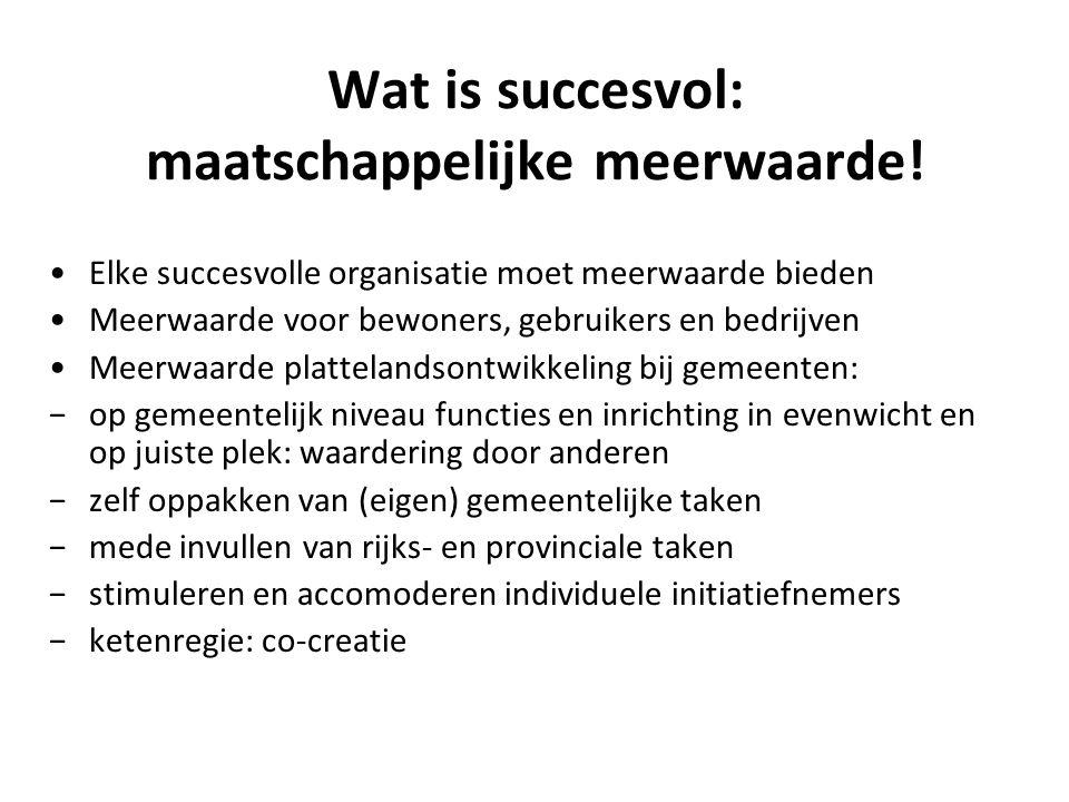 Wat is succesvol: maatschappelijke meerwaarde! Elke succesvolle organisatie moet meerwaarde bieden Meerwaarde voor bewoners, gebruikers en bedrijven M