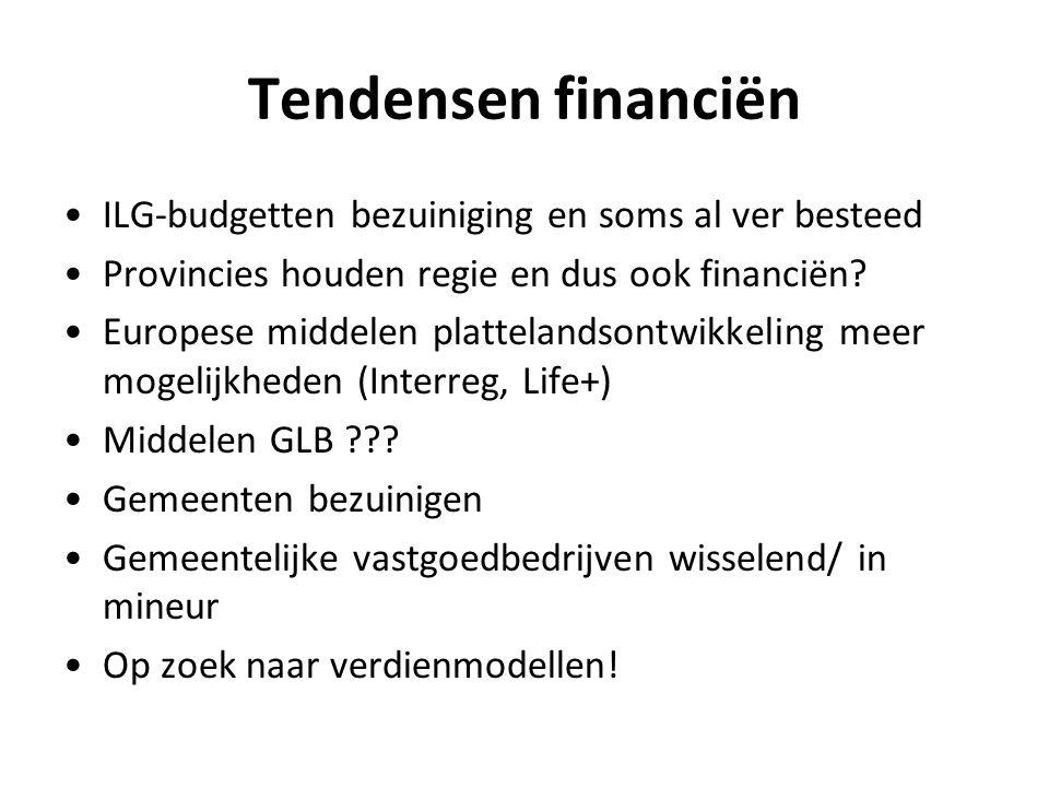 Tendensen financiën ILG-budgetten bezuiniging en soms al ver besteed Provincies houden regie en dus ook financiën? Europese middelen plattelandsontwik