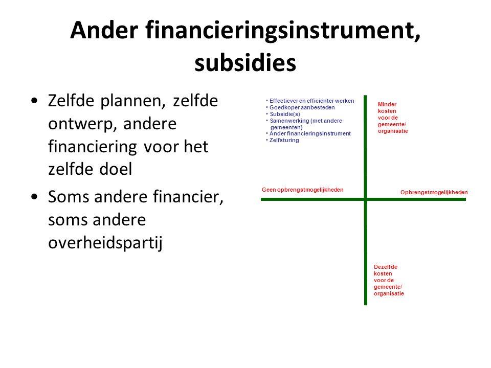 Ander financieringsinstrument, subsidies Zelfde plannen, zelfde ontwerp, andere financiering voor het zelfde doel Soms andere financier, soms andere o