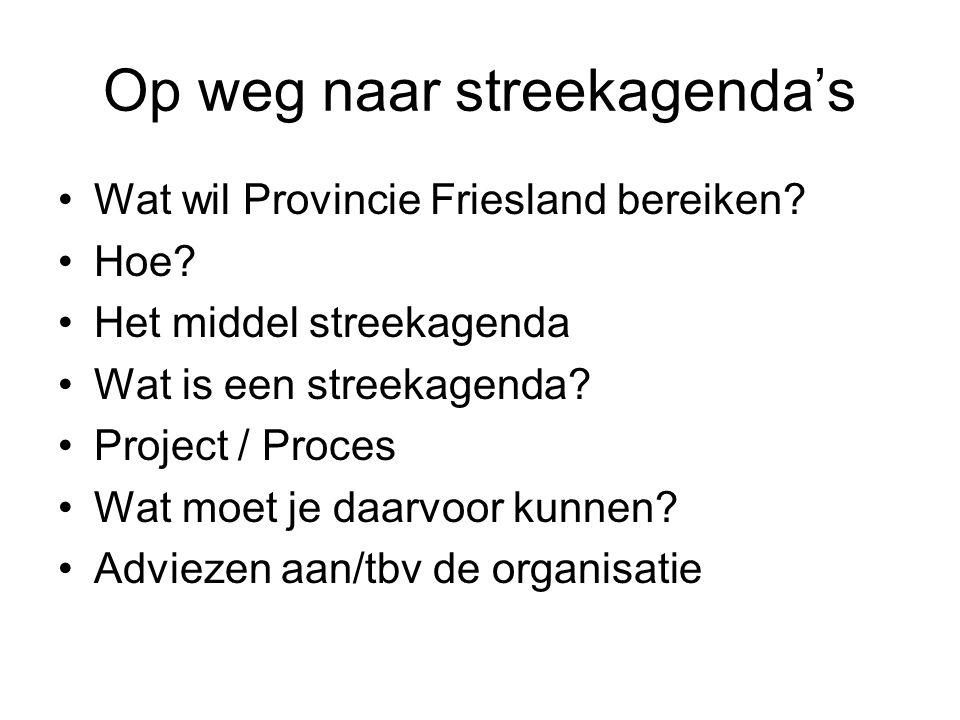 Op weg naar streekagenda's Wat wil Provincie Friesland bereiken? Hoe? Het middel streekagenda Wat is een streekagenda? Project / Proces Wat moet je da