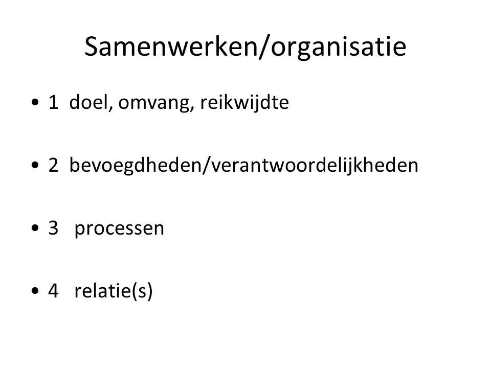 Samenwerken/organisatie 1 doel, omvang, reikwijdte 2 bevoegdheden/verantwoordelijkheden 3 processen 4 relatie(s)
