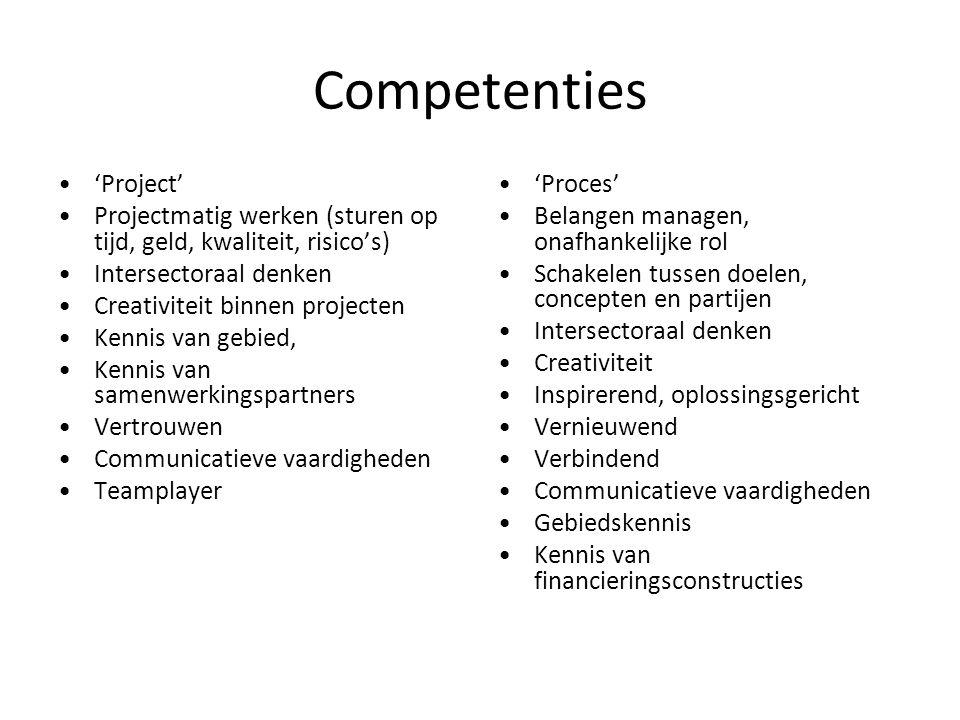 Competenties 'Project' Projectmatig werken (sturen op tijd, geld, kwaliteit, risico's) Intersectoraal denken Creativiteit binnen projecten Kennis van