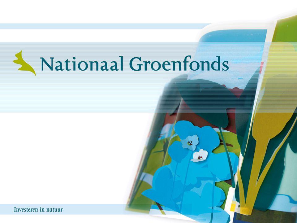 1 Nationaal Groenfonds Opgericht door provincies en rijk in 1994 Aanleiding: één financieel loket voor de EHS Stichting met bestuur benoemd door oprichters Voorzitter prof.