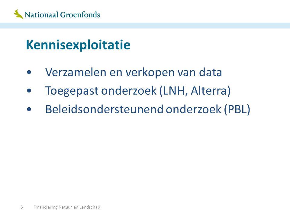 Kennisexploitatie Verzamelen en verkopen van data Toegepast onderzoek (LNH, Alterra) Beleidsondersteunend onderzoek (PBL) Financiering Natuur en Landschap5