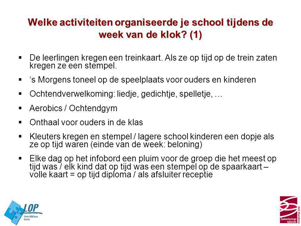 Welke activiteiten organiseerde je school tijdens de week van de klok? (1)  De leerlingen kregen een treinkaart. Als ze op tijd op de trein zaten kre