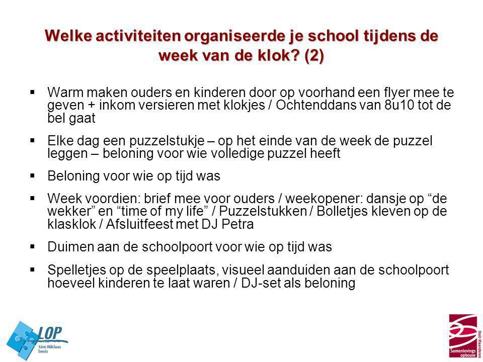 Welke activiteiten organiseerde je school tijdens de week van de klok? (2)  Warm maken ouders en kinderen door op voorhand een flyer mee te geven + i