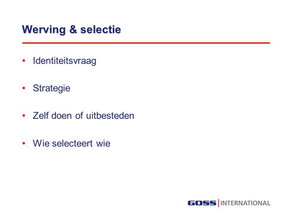 Werving & selectie Identiteitsvraag Strategie Zelf doen of uitbesteden Wie selecteert wie