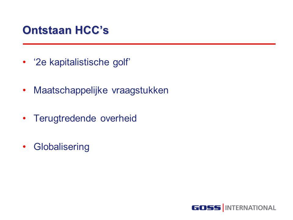 Ontstaan HCC's '2e kapitalistische golf' Maatschappelijke vraagstukken Terugtredende overheid Globalisering