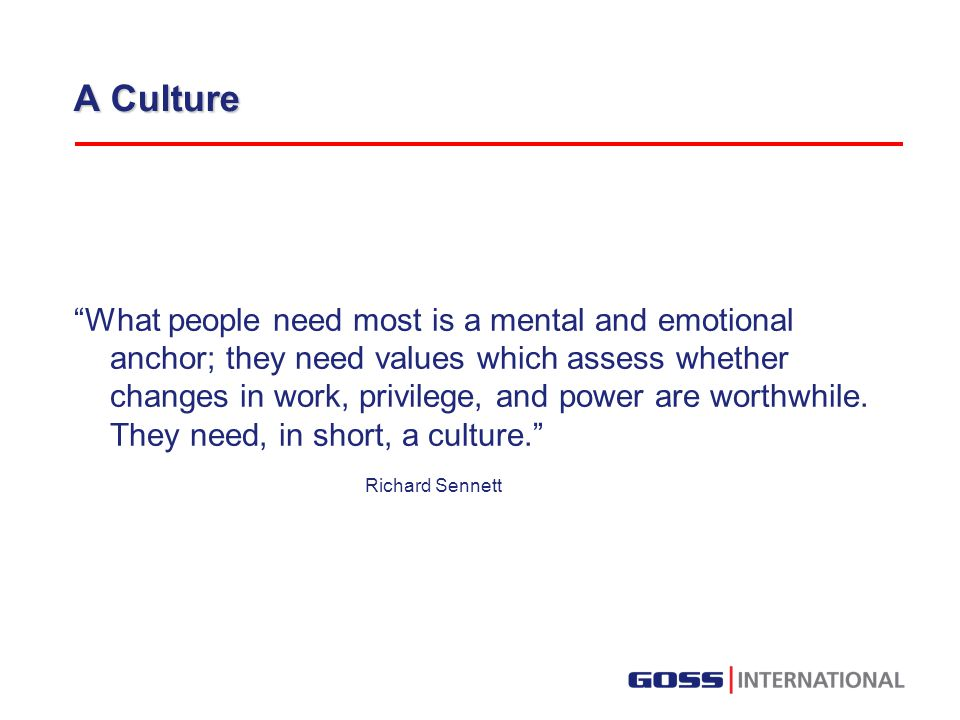 A Culture What people need most is a mental and emotional anchor; they need values which assess whether changes in work, privilege, and power are worthwhile.