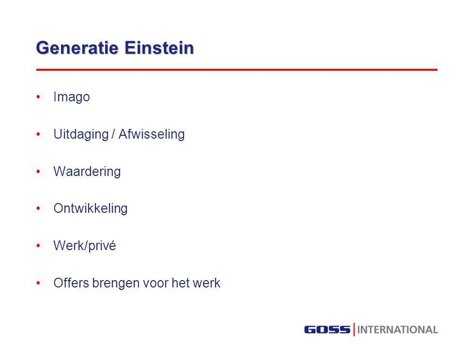 Generatie Einstein Imago Uitdaging / Afwisseling Waardering Ontwikkeling Werk/privé Offers brengen voor het werk