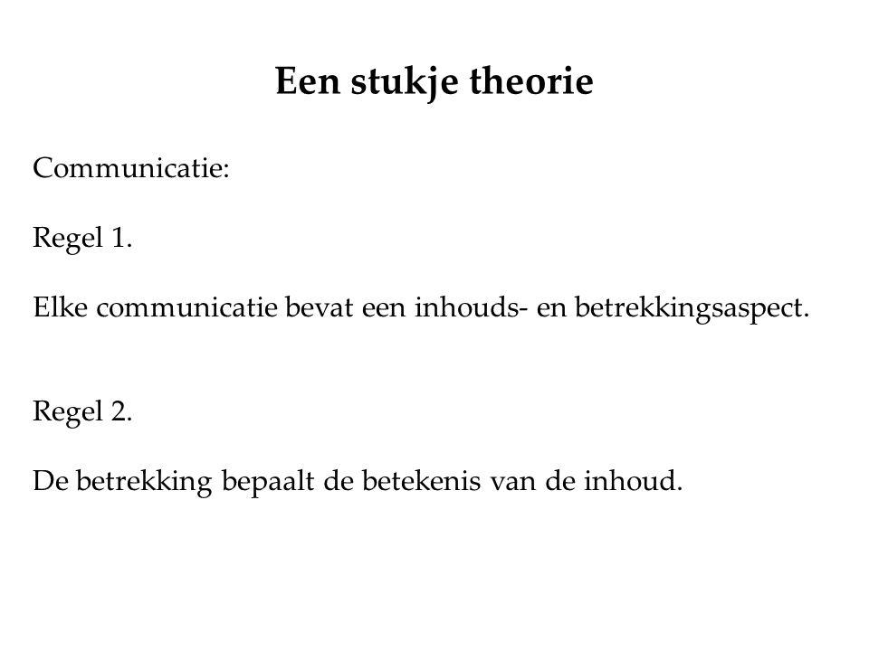 Een stukje theorie Communicatie: Regel 1. Elke communicatie bevat een inhouds- en betrekkingsaspect. Regel 2. De betrekking bepaalt de betekenis van d