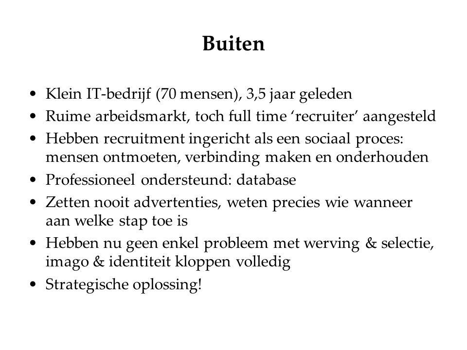 Buiten Klein IT-bedrijf (70 mensen), 3,5 jaar geleden Ruime arbeidsmarkt, toch full time 'recruiter' aangesteld Hebben recruitment ingericht als een s