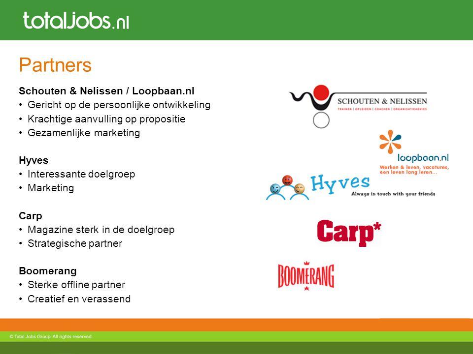 Partners Schouten & Nelissen / Loopbaan.nl Gericht op de persoonlijke ontwikkeling Krachtige aanvulling op propositie Gezamenlijke marketing Hyves Int